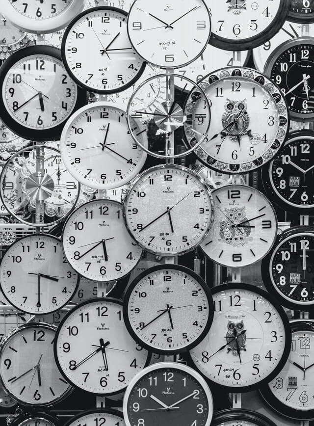 black and white photo of clocks 70767621